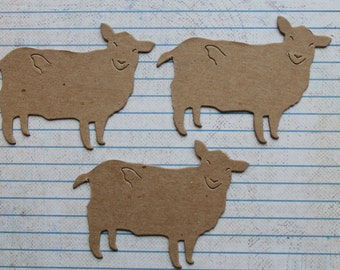 3 Bare Chipboard Smiling Sheep / Lamb Animal Style no. 2 Diecuts 3 1/8 inches wide
