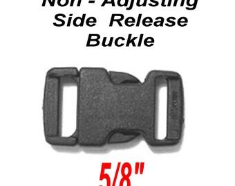 "SALE - 100 Flat BUCKLES - 5/8"" - Side Release, 5/8 inch, Strap Buckle, Paracord Bracelet - Polyacetal Plastic, NON adjusting - Black"