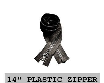 """10 Zippers - 14"""" - YKK Molded Plastic - 14 inch - Open Bottom - 9 COLORS to choose from - Separating ZIPPERS"""
