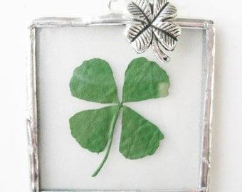 silver clover necklace - four leaf clover necklace - 4 leaf clover pendant - shamrock necklace - irish - st patricks day