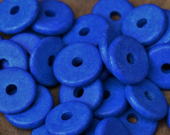 Greek Ceramic Beads - 10 Periwinkle 13mm Round Large Holed Disk Beads