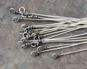 2 Bali Sterling Silver 22gauge Twisted Rope Headpins - 75mm