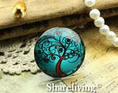 Glass Cabochon, 8mm 10mm 12mm 14mm 16mm 20mm 25mm 30mm Round Handmade photo glass Cabochons  (Vintage Tree) -- BCH735A