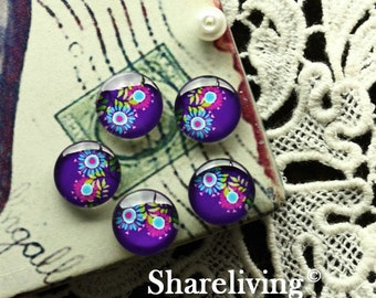 Glass Cabochon, 8mm 10mm 12mm 14mm 16mm 20mm 25mm 30mm Round Handmade photo glass Cabochons (Floral)  -- BCH178G