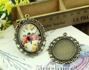 2pcs 30x40mm Antique Bronze Cameo Base Setting Pendant / Charm AS378