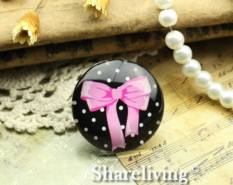 Glass Cabochon, 8mm 10mm 12mm 14mm 16mm 20mm 25mm 30mm Round Handmade photo glass Cabochons  (Bowknot)  -- BCH742A