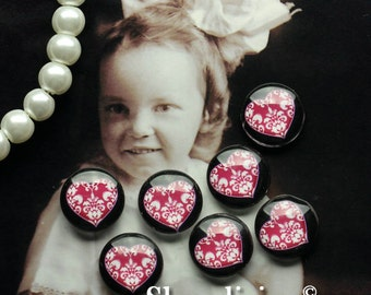 Glass Cabochon, 8mm 10mm 12mm 14mm 16mm 20mm 25mm 30mm Round Handmade photo glass Cabochons ( I Love You)    -- BCH203C