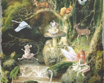 Woodland Menagerie Digital Collage Greeting Card (Suitable for Framing)