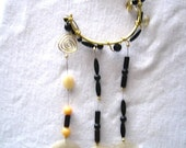 Black Beaded Brass Wire Wrapped Handmade Wind Chime with Capiz Shells