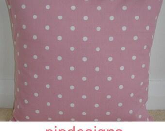 "18x18 Pink Pillow Cover NEW 18"" Cushion Case Sham Slip Pillowcase Pillowsham Pillowslip White Polka Dot Dots 18""x18"""