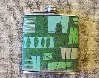 retro atomic flask 1950's era rockabilly pin up girl kitsch vintage mid century tiki