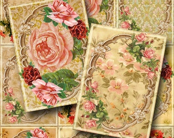 Vintage ShaBBy RoSeS Antique Labels/Tags/Cards -INSTaNT DOWNLoAD- CHaRMiNG Printable Collage Sheet  JPG Digital File- NeW LoWER PRiCE