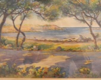 Vintage Watercolor Painting . Landscape . Great Colors