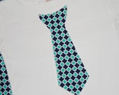 Boys Custom Tie Tee Shirt Quatrefoil Navy and Aqua  - sizes 0-3 months to size 6 - Navy or White Shirt - long or short sleeved