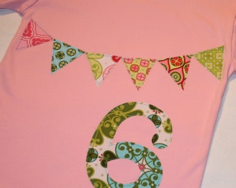 Girls 6th Birthday Bunting Shirt - size 6 short sleeve with number 6 and pennant in pink aqua and green Mezzanine pastels
