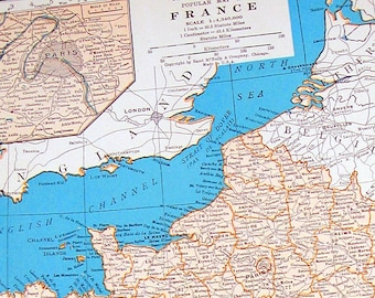 Map of France - Vintage Book Page - 1937 Vintage Map from World Atlas