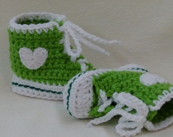 Crocheted Baby Booties choose a size Lime and Green High Top Sneaker