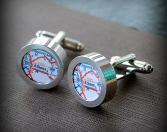 Athens Ohio University Vintage Map Cuff Links - Great Gift