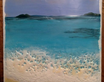 "Original Encaustic Painting Caribbean Sea - No. 1, 6"" x 6"""