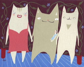 Original Whimsical Cat Art Painting - Three Cats with Girl - Funny Folk Artwork Wall Decor - Crazy Cat Lady