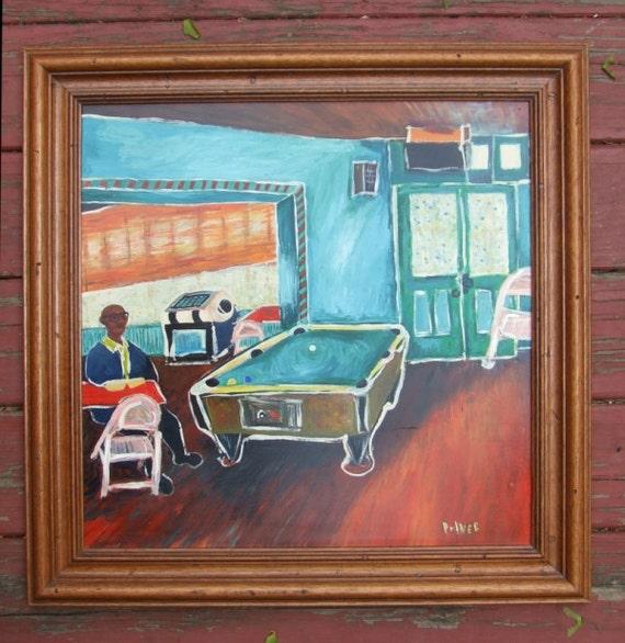 Original Naive Pool Table Art Painting Juke Joint Americana Aqua