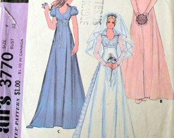 Vintage 70's Sewing Pattern McCall's 3770 Bridal Gown Bust 32 inches