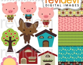 Clipart Friendly Little Pigs 07470