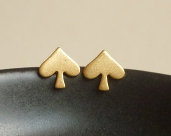 Tiny Gold Spade Stud Earrings,Spade Earrings Bridesmaid Gift. Minimal Jewelry Stainless Steel Posts