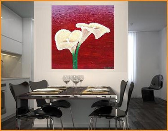 "Callas I... original painting, 23.6x23.6"", 60 x 60 cm, acrylic, wood, flower, plant, nature, expressive, fantasy"