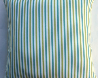 Green Pillow Cover - Turquoise and Green Striped Indoor Outdoor Cushion Cover - 18x18