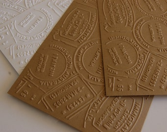 10 Embossed Travel Passport Stamps Notecard Papers for cardmaking, scrapbooking, journaling, paper crafts 4.25x5.5 inches
