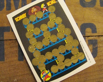Vintage Scratch Card - Donkey Kong Rub Off Game - Blue Version - 80s Video Games, Vintage Nintendo, Vintage Arcade, Vintage Donkey Kong