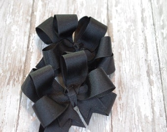 "Girls Hair Bows Black Boutique 3"" Double Layer Hairbows Set of 2 Pigtail Bows Black Pigtail Bows Black Hair Bows"