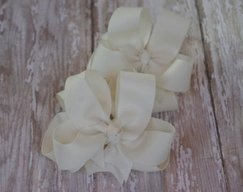 """Girls Hair Bows Ivory Boutique 3"""" Double Layer Hairbows Set of 2 Pigtail Bows Ivory Pigtail Bows Ivory Hair Bows Off White Hair Bows"""