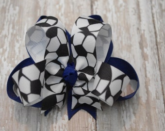 "Boutique Soccer Layered 4"" Hair Bow Can Be Customized With Team Colors"