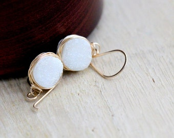 Druzy Gold Earrings, White Agates Bezel Wrapped Drops in 14k Gold Filled, Gemstone Fashion