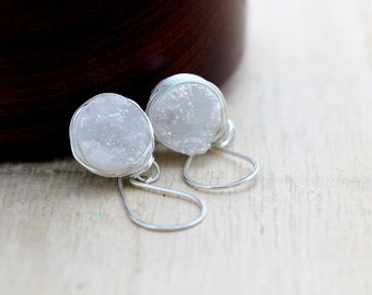 Druzy Silver Earrings, White Quartz Dangle Bezel Wrapped Drops in Sterling Silver, Gemstone Fashion
