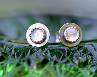 Adularescence Moonstone Post Earrings Sterling Silver Free Domestic Shipping