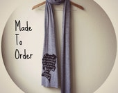 """Jane Eyre Scarf """"I am no bird..."""" Book Scarf in Grey. MADE TO ORDER"""