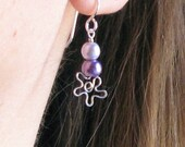 Purple pearl earrings flower jewelry sterling silver bride bridesmaids wedding party jewelry