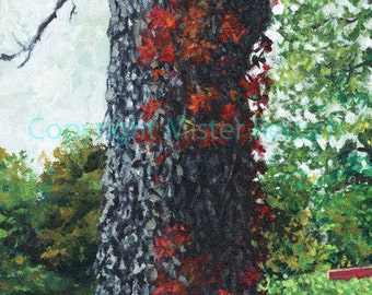 John Greenleaf Whittier Birthplace Shagbark Hickory Tree Signed Print by Mister Reusch