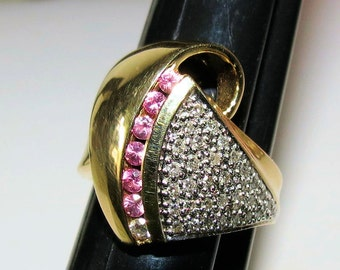 14k  Wide Gold Ring, Pave Diamond Ring, Pink Sapphire Ring, Ladies Gift, Fine Gold Jewelry