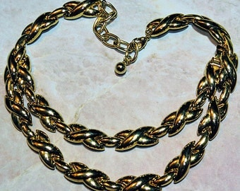Vintage Necklace and Bracelet Set,  Adjustable Classic X Link Necklace, Ladies Demi Parure