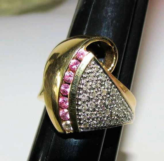 14k Wide Gold Ring Pave Diamond Ring Pink Sapphire Ring