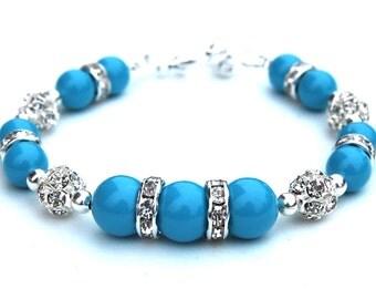 Turquoise Pearl Rhinestone Bracelet, Bridesmaid Bracelet, Summer Wedding, Turquoise Bridesmaid, Maid of Honor Gift, Blue Bridal Bracelet