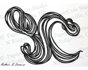 Spores Papercut ACEO, Handcut Original