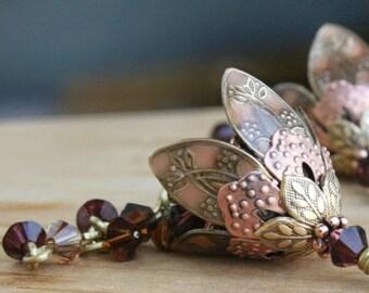 Flower Dangle Earrings Jewelry Gift Anniversary Gift Romantic Gift Love Gift Gift For Her Gift Idea Gift For Girlfriend