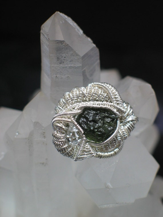Moldavite & Herkimer Heady Hatpin Wire Wrapped Jewelry