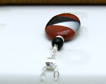 Modern Geometric Tribal Pendant Necklace, Oval Intarcia Pendant, Sterling Silver, Mother of Pearl, Red Jasper, Onyx, For Her Under 100