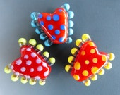 Set of 3 Red Lampwork Glass Beads
